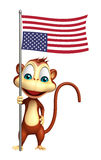 Fun Monkey cartoon character with flag. 3d rendered illustration of Monkey cartoon character with flag Stock Photos
