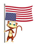 Fun Monkey cartoon character with flag. 3d rendered illustration of Monkey cartoon character with flag Stock Image