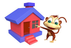 Fun Monkey cartoon character with home Royalty Free Stock Photo