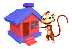 Fun Monkey cartoon character with home Stock Photography