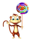 Fun Monkey cartoon character with lollypop Stock Photo