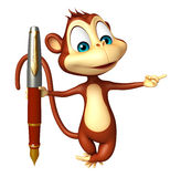Fun Monkey cartoon character with pen Stock Photography