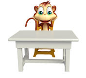 Fun Monkey cartoon character with pen. 3d rendered illustration of Monkey cartoon character with pen Royalty Free Stock Images