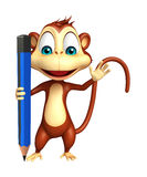Fun Monkey cartoon character with pencil Royalty Free Stock Photos