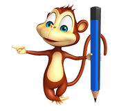 Fun Monkey cartoon character  with pencil Stock Image