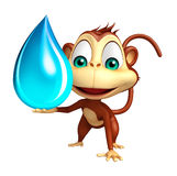 Fun Monkey cartoon character with water drop Stock Photos