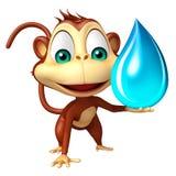 Fun Monkey cartoon character with water drop Stock Photos
