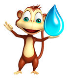 Fun Monkey cartoon character with water drop Royalty Free Stock Photography