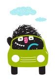 Fun Monster Driving Car Cartoon for Kids Royalty Free Stock Photo
