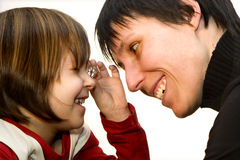 Fun of mother and daughter with the diamond Stock Photo