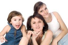 Fun mother and two daughters. Studio fun portrait of mother and two daughters Royalty Free Stock Image