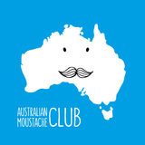 Fun moustache cartoon Australia hand drawn map Royalty Free Stock Photo