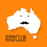 Fun moustache club cartoon Australia map vector on Stock Images
