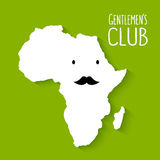 Fun moustache flat cartoon Africa map gentleman Royalty Free Stock Photo