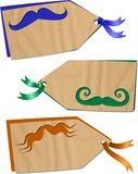 Fun Moustache Tags. A set of three shabby chic collage scrapbooking tags on the theme of moustaches royalty free stock photography