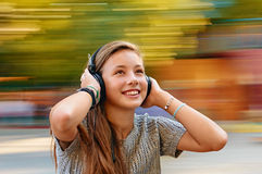 Fun with music headphones Royalty Free Stock Photo