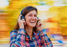 Fun with music headphones Royalty Free Stock Image