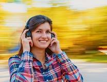 Fun with music headphones Stock Photo