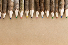 Fun natural wood colored pencil crayons Royalty Free Stock Images