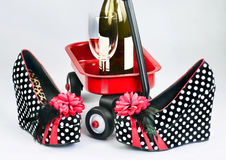 Fun Night Out. Crazy shoes and drinks for fun night out Royalty Free Stock Images