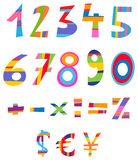 Fun numbers. Colorful set of fun numbers, math and currency signs Vector Illustration
