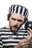 Fun, one caucasian man prisoner criminal with chain ball and han Royalty Free Stock Photos