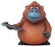 Fun orangoutan - 3D Illustration Stock Images