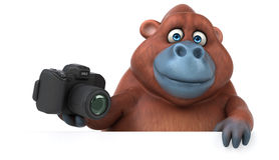 Fun orangoutan - 3D Illustration Stock Image
