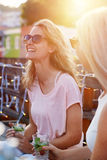 Fun outdoor women royalty free stock photography