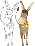 Fun outline donkey Royalty Free Stock Image
