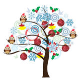 Fun Owl. Vector tree with owls, snowflakes, balls royalty free illustration