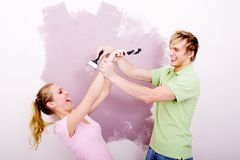 Fun painting couple royalty free stock photography