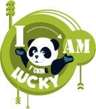 Fun Panda. Painted Panda on a circular green background with a creative inscription Royalty Free Illustration
