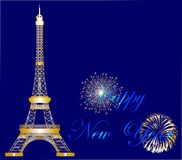 Fun in Paris. The composition of fireworks for the new year Stock Photography