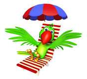 Fun Parrot cartoon character with beach chair. 3d rendered illustration of Parrot cartoon character with beach chair Royalty Free Stock Image