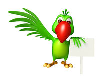 fun Parrot cartoon character with board Stock Images