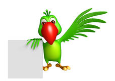 fun Parrot cartoon character with board Stock Photo