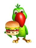 fun Parrot cartoon character with burger Stock Images