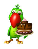 Fun Parrot cartoon character with cake Stock Images