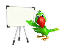 fun Parrot cartoon character with display board Stock Image