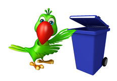 fun Parrot cartoon character  with dustbin Royalty Free Stock Photo