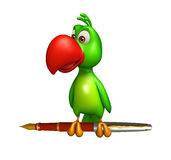 Fun Parrot cartoon character with pen Stock Photography