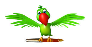 Fun Parrot cartoon character with pen. 3d rendered illustration of Parrot cartoon character with pen Stock Photography