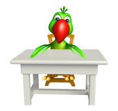 fun Parrot cartoon character with table and chair Royalty Free Stock Images