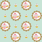 Fun pattern with pastry chef owl and chocolate cupcakes on blue background Royalty Free Stock Photo