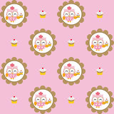 Fun pattern with pastry chef owl and chocolate cupcakes on pink background Stock Photos