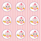 Fun pattern with pastry chef owl and cupcakes on colorful background Stock Photos