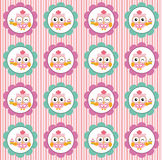 Fun pattern with pastry chef owl and cupcakes on pink background Royalty Free Stock Photos