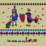 Fun patterned birds with flowers and hearts. Royalty Free Stock Image