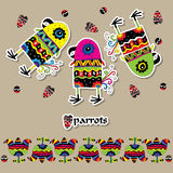 Fun patterned parrots, hearts and flowers. Royalty Free Stock Images